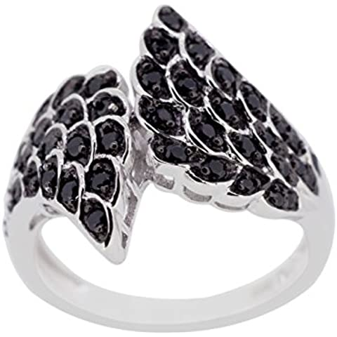 kamya–Anello da donna in argento 925rodiato con spinello nero r3118bksp