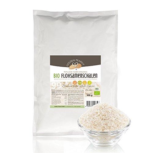 Bio Flohsamenschalen 99 prozentige Reinheit, Extra Weiß, Premium Qualität, höhste Quellzahl, getestet, allergenfrei, Glutenfrei, Vegan, keimreduziert, Low-Carb, 500 g