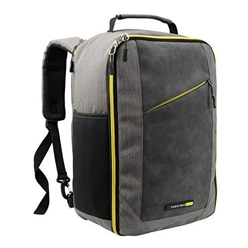 Cabin Max Manhattan Stowaway XL - Sac à Dos Voyage Valise Cabine pour Ryanair 40x20x25 Parfait comme Bagage à Main pour Toutes Compagnies Aériennes ... (Yellow Detail)