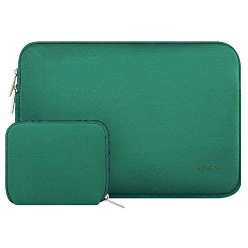 MOSISO Sleeve Hülle Tasche Kompatibel 15 Zoll Neueste MacBook Pro mit Touch Bar A1990/A1707, 14 Zoll ThinkPad Chromebook, Notebook Wasserabweisend Neopren Laptoptasche mit Klein Fall, Pfau Grün Grün 14