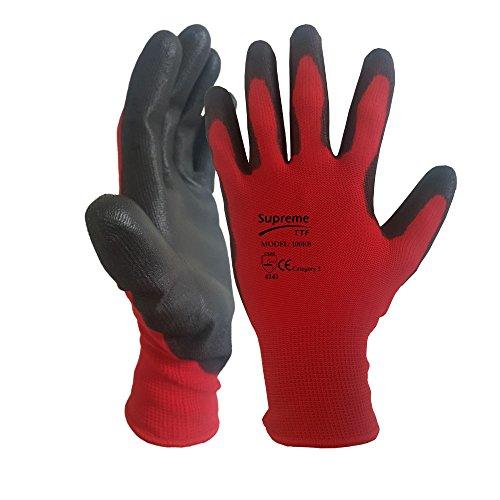 e13f6037c5f84 24 Pairs Red Black Nitrile Coated Nylon Safety Work Garden Gloves Builders Mens  Gardening