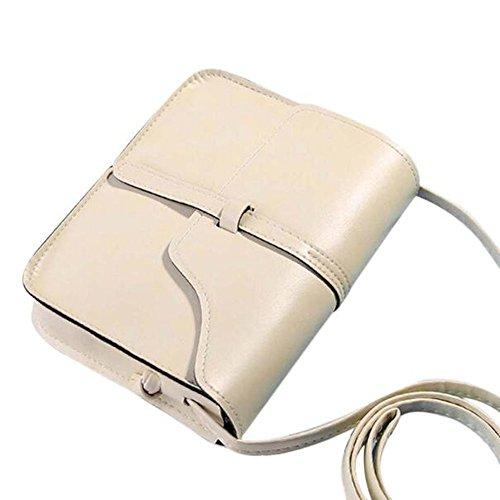 DAY.LIN Damen Retro Mini Diagonale Umhängetasche Vintage Geldbörse Tasche Leder Umhängetasche Umhängetasche (Beige)