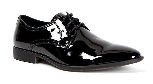 Smokies Edward Smoking Schuhe Herren Hochzeitsschuhe schwarz Lack Leder Innenfutter (44)