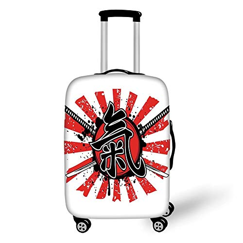 Travel Luggage Cover Suitcase Protector,Japanese,Grunge Illustration of Asian Military Armor Nobility Symbol of Early Modern Japan,Red Black,for Travel XL Japan Wildflower