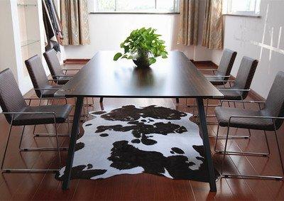 GRENSS Nachahmung Kuhfell Teppich Tier Fußmatte Wohnzimmer Schlafzimmer Kaffee Braun Schwarz und Weiß Mode Originalität Wolldecke, Schwarz weiss, 136 cm, 200 cm.