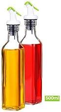 Homies International,Set Of 2 Oil And Vinegar Cruet, Seasoning Set For Dining Table,(Set Of 2),Glass. Color: Transparent. Size: 30 cm,500 ml
