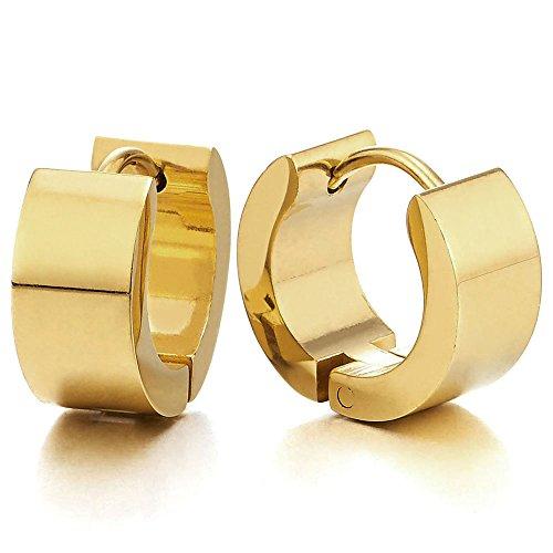 Paar Gold Creolen für Herren Damen, Edelstahl Huggie Ohr Manschette Ohrringe, Fake Piercing Piercing Manschette
