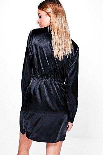 Nackt Damen Brianna Hemdkleid In Satin-optik Mit Vorderseitigem Knoten Nackt
