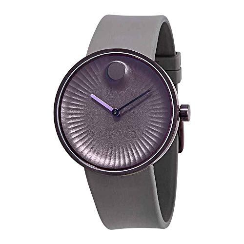 Movado Men's 40mm Beige Silicone Band Steel Case Sapphire Crystal Quartz Purple Dial Analog Watch 3680044