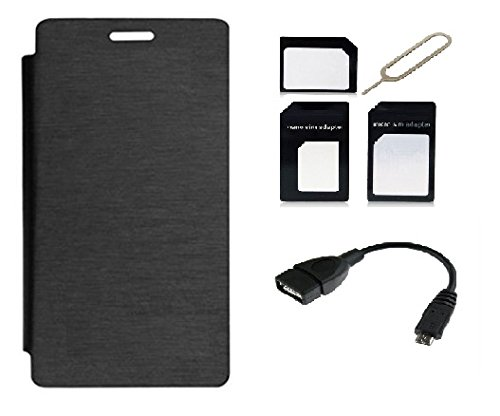 ECellStreet Flip Cover Diary Folio Case for Micromax Canvas Knight 2 E471 - Black + Free Sim Adapter Kit + Free OTG Cable