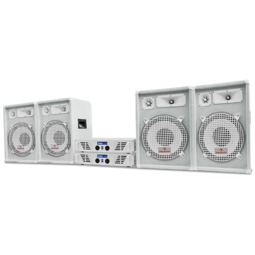 auna DJ PA Komplettanlage 2400W Arctic Winter Pro 2 Paar PA-Lautsprecher + 2x Ibiza AMP PA-Verstärker Serie WhiteStar