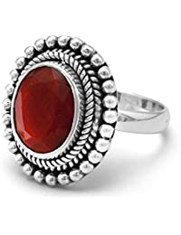 Sterling Silver Oxidized Oval Faceted Rough-cut Ruby With Bead Design Ring - Ring Size Options Range: L to R
