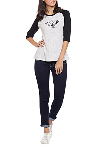 Wittrends-Womens-White-and-Black-Cotton-Nep-Raglan-Tee-with-Print