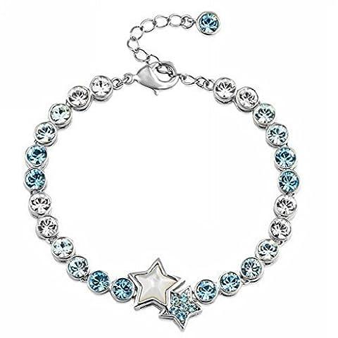 Bracelet Zircone Bleu et blanc Top Elégant Qualité Supérieure 15.5CM+Extension 5cm etoile romantique