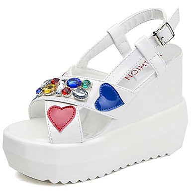 LvYuan Da donna Sandali PU (Poliuretano) Estate Footing Con diamantini Zeppa Bianco Nero 7,5 - 9,5 cm White