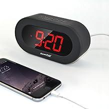 Reacher Grande LED Digital Reloj Despertador Alarma Escritorio Reloj con función Snooze, Puerto USB Dual para teléfonos inteligentes y tabletas de carga, batería de respaldo (Negro)