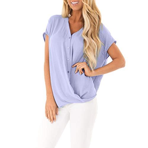 Fledermaus Batwing Chiffon T-Shirt für Damen/Dorical Frauen Kurzarm V-Ausschnitt Elegant Blusen,Fashion Casual Loose Shirt Top Oberbekleidung Damenbekleidung S-XXL Reduziert(Lila,Small)