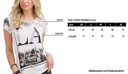 trueprodigy Casual Damen Marken T-Shirt mit Aufdruck, Oberteil Cool und Stylisch mit Rundhals (Kurzarm & Slim Fit), Top für Frauen Bedruckt Farbe: Weiß 1073537-2000 White