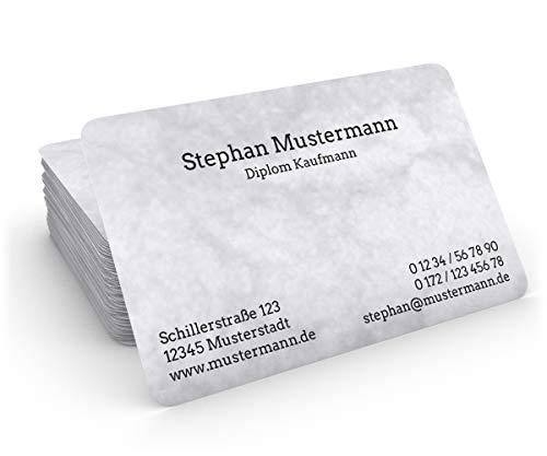 100 Visitenkarten, 85 x 55 mm, inkl. Kartenspender - Classic Marmor Grau