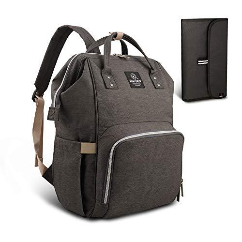HEYI bolso cambiador multifuncional mochila de pañales bebe, bolso maternal mochila impermeable, mochila del viaje de la mamá de grande capacidad (Gris oscuro)