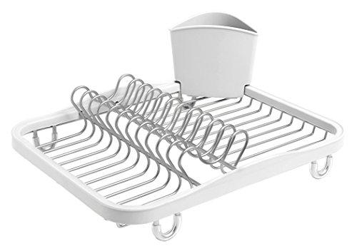Umbra Sinkin Abtropfgestell aus Metall mit Abnehmbarem Besteckkorb – Passt in Spülbecken oder auf Arbeitsfläche, Kompakt und Handlich, Weiß / Nickel