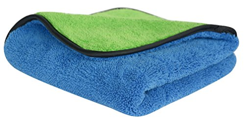 Preisvergleich Produktbild Premium 720gsm Auto Microfaser Trockentuch Sehr Saugstark Flauschige mit Seidenband Eingefasst (40cmx40cm-Blue/green)