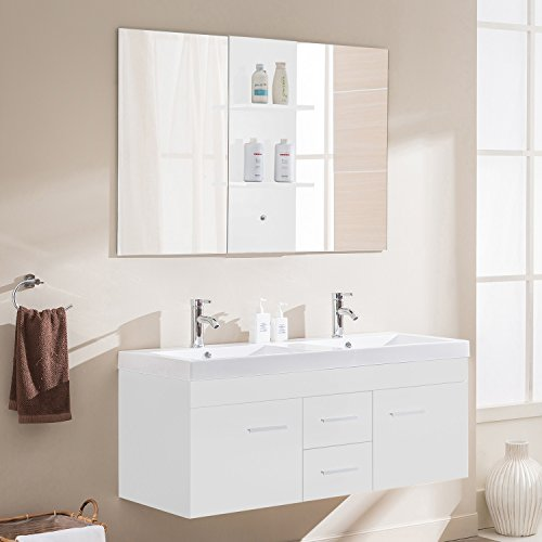 Le Calypso Blanc : Ensemble meuble de salle de bain en chêne, 2 vasques, 2 miroirs