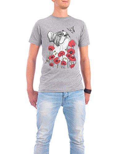 """Design T-Shirt Männer Continental Cotton """"Pug in flowers"""" - stylisches Shirt Tiere Floral Natur von Nikita Korenkov Grau"""