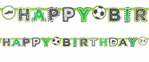 Party Palast Party Dekoration Girlanden Schriftzug Happy Birthday Fußball Banner, 1 Stück, 2m, Mehrfarbig