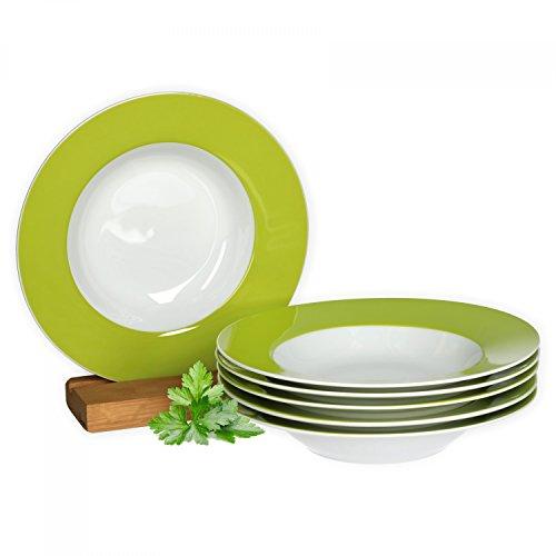 Van Well 6er Set Suppenteller Serie Vario Porzellan - Farbe wählbar, Farbe:grün - Grüner Rand