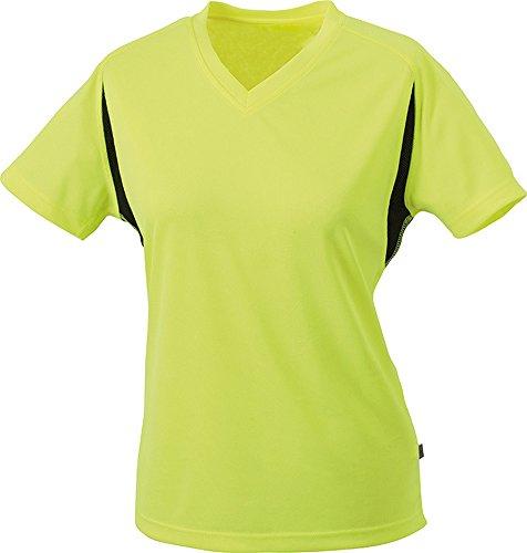 James & Nicholson Damen T-Shirt fluoyellow/black