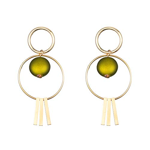 Ohrringe Ohrhänger Doppel Kreis Perlen 925 Silber 18K Gelbgold Ohrringe Schöne Grün Damen Geschenk