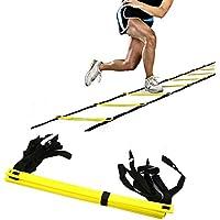 AIQI - Escalera para mejorar velocidad y agilidad, texturizada, con bolsa de transporte de color negro, 10FT 5-Rung