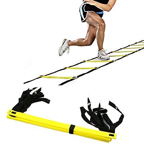 AIQI échelle la vitesse et l'agilité à5 marches pour améliorer la vitesse, l'agilité, Fitness, jambe de force et plus avec sac de transport Noir 10