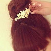 Yhcean Frauen Mädchen Metall Sterne Haarspange Haar Clips Haar Zubehör–Golden