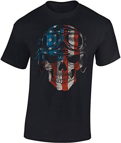 Damen-biker-t-shirts (Biker Shirt: American Biker - Motorrad T-Shirt Herren Damen - Mann Männer Frau-en - Chopper - Liebhaber - Fan-s - Rocker - Anarchy - Geschenk - Bikerin - Motorradfahrer-in - Moped - Bike MC (3XL))