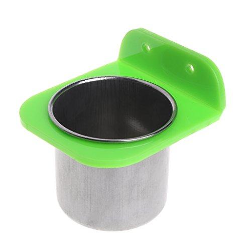 Haorw Edelstahl Fressnapf Wassernapf Vögel Lebensmittel Schüssel mit Bolzenhalter (S, Grün)
