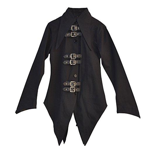 El celibato 44008205.008M Mujeres g贸tica de Steampunk camisa de manga larga o blusa con tapeta, amplio M delgado negro