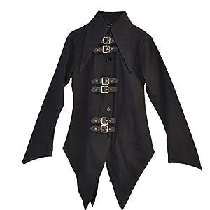 El celibato 44008205.008M Mujeres gótica de Steampunk camisa de manga larga o blusa con tapeta, amplio M delgado negro