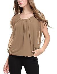 DJT Femme T-Shirt en Mousseline de soie Manches Courtes