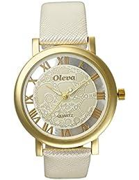 Oleva Premium Women's Leather Watch OPLW-1-WHITE