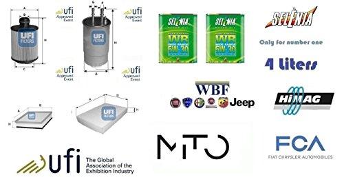 Kit filtri tagliando UFI Alfa Mito 1.6 JTDm 16v 88 Kw + 4 Litri Oil Selenia 5W30