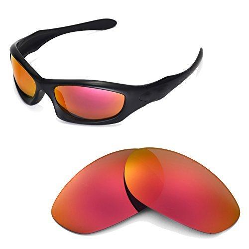 Walleva Ersatzgläser für Oakley Monster Dog Sonnenbrille -Mehrfache Optionen (Feuerrot Mirror Coated - Polarisiert)