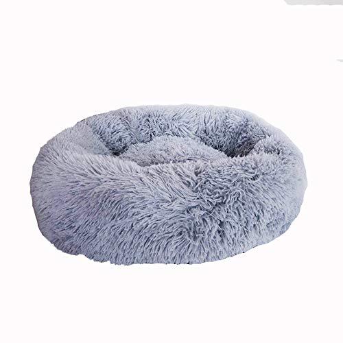 JIAOXM Hundebett Haustierbett, Donut Cuddler, Kleines und mittelgroßes Hundepelzbett aus Kunstpelz, selbst erwärmendes Rundkissen für Innen,E,M -