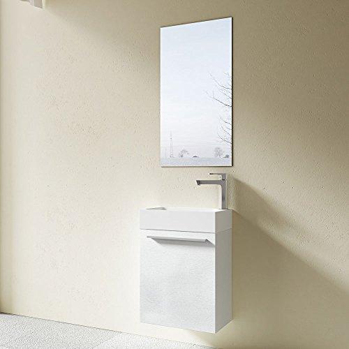 Meuble de salle de bains petite vasque avec meuble sous vasque et mirroir pour WC séparé Pisa 46x26x63 blanc brillant