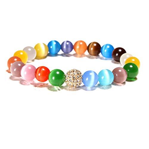 AIUIN 1X Brazalete de Rainbow Piedra de Ojo de Gato Colorido Afortunada Pulseras Pulsera Decorativa