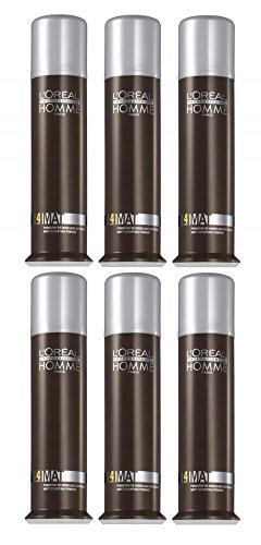Loreal LP Homme Mat Modellierpaste 6 x 80 ml Styling Pomade mit Matt-Effekt