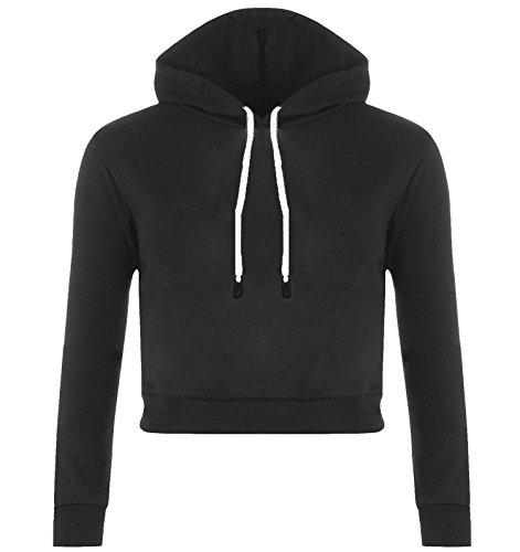 Nuova-Maglia a maniche lunghe da donna, in pile, Crop Top-Felpa con cappuccio a martello, 8, 10, 12, 14 Black - Sweater Jumper Winter Crop New
