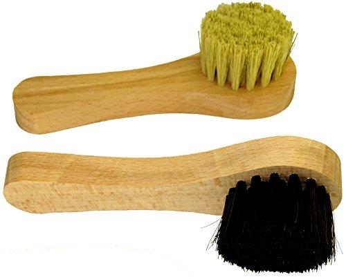 DELARA Deux petite brosses à cirage de grande qualité en poils naturels. Couleurs : noir et naturel