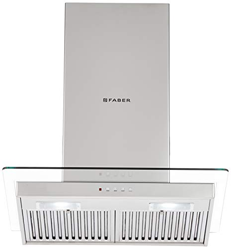 Faber 60 Cm 1095 M3/Hr Chimney (Hood Glassy 3D T2S2 Ltw 60, 2 Baffle Filters, Stainless Steel)